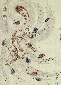 """""""Kamaitachi"""" (鎌鼬) from the Kyōka Hyaku Monogatari by Masasumi Ryūkansaijin"""